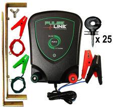 Electric Fencing Energiser 12V Battery Powered PLB13 1.3J + 25 Ring Insulators