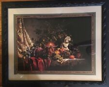 "Home Interiors Homco Cherub Fruits Grapes Picture Black Frame Gold Tipped 32""X26"