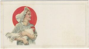 Farm Woman in Bonnet Holds Rooster 1920s Unprinted Advertising Animal Blotter