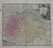 1745 Genuine Antique map Germany. Saxonia Superioris. Ornate. Color. G.M.Seutter