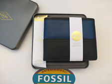 FOSSIL Bifold Wallet TATE RFID Protected Black Leather ID Wallets in Gift Tin*