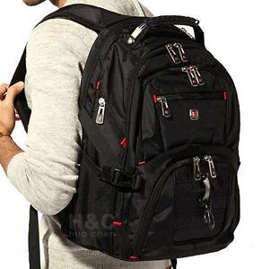 """Men's Travel 15"""" Laptop Backpack Shoulder Bag Swiss Hiking School Bag Rucksack"""