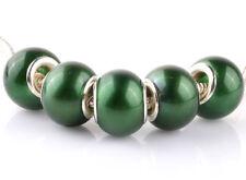 5pcs silver pearl Dark green spacer beads fit Charm European Bracelet DIY #D919