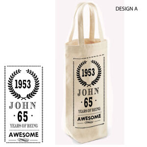 Personalised Wine,Spirits Bottle Bag, Birthday Present, Gift,50th,60th,70th