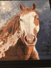 "Fabric Horse Wild Paint Farm Animal Quilt Square Cotton Hand-cut 10.5"" x 9.25"""