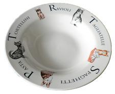 """8.5"""" ceramic pasta bowl with cats design and pasta wording"""