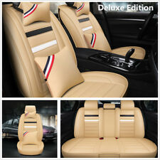 Deluxe Edition Car Seat Cover Protector PU Leather Interior Accessories Full Set