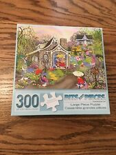 Bits and Pieces 300 Large Piece puzzle Complete Rainbow Showers Spring Cottage