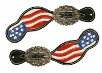 Showman Leather Spur Straps w/ Hand Painted American Flag Design! NEW HORSE TACK