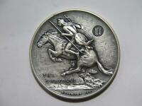 CHEYENNE INDIAN ON HORSEBACK ANTIQUE FINISH MEDALLIC ART CT SILVER MEDAL 🌈⭐🌈