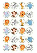 24 x ZOO ANIMALS Wafer Rice Paper Cupcake Toppers EDIBLE CAKE LION HIPPO GIRAFFE