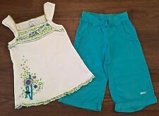 NAARTJIE SIZE 9 MENDI MORO EMBROIDERED TANK TOP SHORTS BLUE GREEN PURPLE WHITE