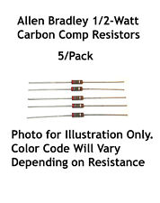 220 Ohm 1/2-Watt Allen Bradley Carbon Comp Resistors 5/Lot