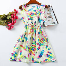 Women's Summer Colorful Feather Dress - Size S/M