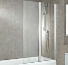 1000mm(w) x 1500mm(h) Central Hinged Bath Screen & Chrome Wall Frame (6mm Glass)