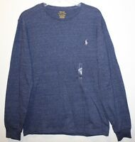 Polo Ralph Lauren Mens Size S Blue Heather L/S Crewneck T-Shirt NWT $49 Size S