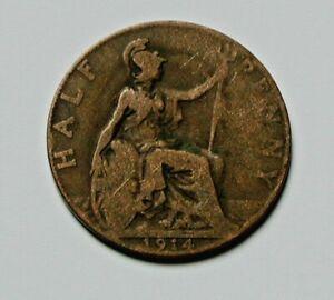 1914 UK (British) George V Coin - Half Penny (1/2d) - brown