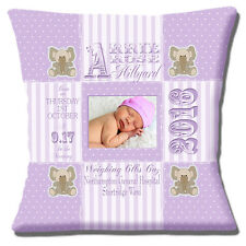 """PERSONALISED BIRTH LILAC Name Date Time Weight PHOTO 16"""" Pillow Cushion Cover"""