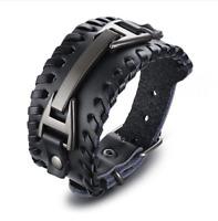Leather Bracelet Punk Braided Rope Alloy Cuff Bangle Male Wristband Mens Jewelry