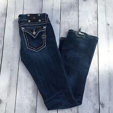 Miss Me Jeans Size 27 Style JY5014B Boot Cut Bradbury Wash Dark 34.5 Ins DAMAGE