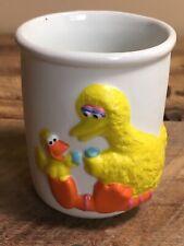 Sesame Street Big Bird Cup Porcelain 1987 Vintage - Toothbrush Cup
