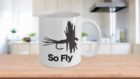 Fishing Lure Mug White Coffee Cup Funny Gift for Fly Fisherman So Fly Pattern