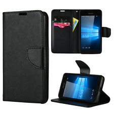 For Nokia Lumia 650 - Black Credit Card ID Diary Wallet Folio Pouch Case Cover