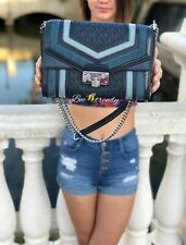 Michael Kors Kinsley Blue Multi Signature Chain  Crossbody Flap Shoulder Bag