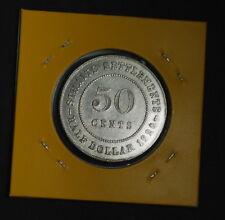 A: Straits Settlements 1920 50 Cents, Silver, King George V (AU-UNC)