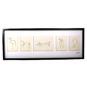 Pablo Picasso Animal Lithograph Prints Ikea Olunda 2009 Reproduction Frame 40x15