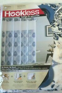 "NIP HOOKLESS BLUE IKAT DAMASK SHOWER CURTAIN W/ WINDOW & SNAP IN LINER 74"" LONG"