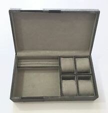 """POTTERY BARN Parker Suede & Leather GRAY Jewelry Box, NEW IN BOX -  MONOGRAM """"K"""""""