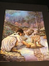 "Indian Child W/ Cub Large 16"" X 20"" Picture Print New In Lithograph"