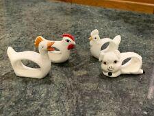 New listing Vintage porcelain Napkin Rings Farm Animals Set of 4