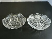 VINTAGE SET OF 2 LEADED GLASS SERVERS