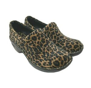 BOC Born 9 M Peggy Animal Leopard Slip On Clogs Comfort Shoes Nurse NWOB $80