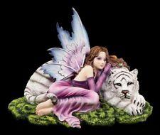 Elfen Figur - Maritima mit weißem Tiger - Fantasy Fee Engel Deko Statue