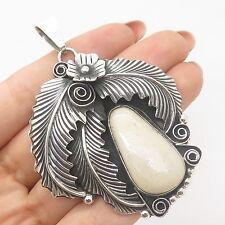 Vtg Mexico Sterling Silver Large Real Jasper Gemstone Handmade Floral Pendant