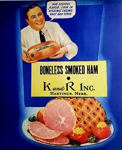 Vintage Old K & R Smoked Ham Advertising Poster/Sign, Butcher, Hastings Nebraska