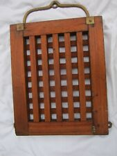 Antique Nautical Ship's Hatch Cover Teak Grate with Bronze Handle & Hardware.