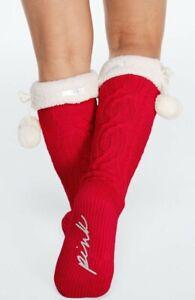 VS PINK Christmas Cable Knit Socks