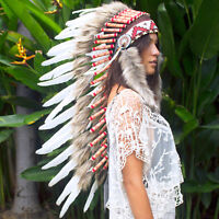 Long Feather Headdress- Native American Indian Style -ADJUSTABLE- Classic White