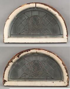 Pair Small Antique Early 20thC, Arts & Crafts Roses, Leaded Glass Arch Windows