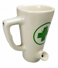 1X White Ceramic Porcelain Coffee Water Novelty made with Pipe Mug