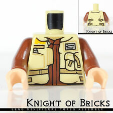 LEGO Minifigure Torso TAN Male SW Jacket DARK TAN Belts Brown Undershirt