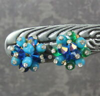 Vintage Blue and Green Glass Beaded Crystal Cluster Rhinestone Accented Earrings