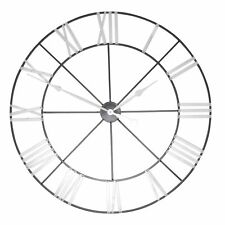 Large 102cm Silver Numerals Skeleton Metal Wall Clock