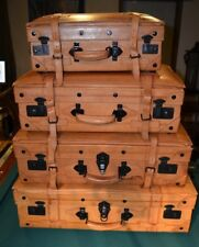Vintage Style Suit Cases Luggage Old Leather Décor Display Set of 4