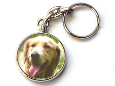 GOLDEN RETRIEVER Dog Puppy Quality Chrome Keyring Picture Both Sides