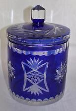 "Bohemian Cut to Clear Cobalt Blue Large Biscuit Jar, 9 1/2"" x 6"""